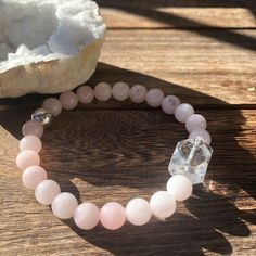 Healing Bracelets, Love Bracelets, Crystal Bracelets, Crystal Beads, Rose Quartz Bracelet, Chakra Bracelet, Heart Chakra, Clear Quartz, Crystals And Gemstones