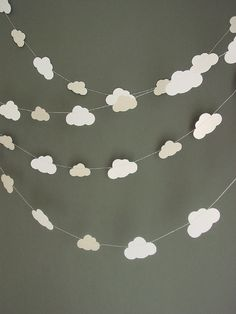 Fluffy Cloud Garlands, Perfect for birthday parties or childrens bedrooms and so easy to make!
