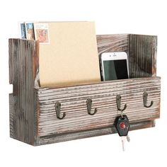 Vertical Wall Mail Holder With Hooks Wood Sign Art