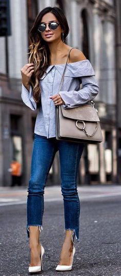 what to wear with a white heels off shoulder shirt bag jeans
