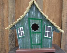 Whimsical Bird House Gray Wooden Birdhouse Painted