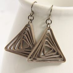 Triangle swirl paper quilled earrings in taupe - by Honey's Quilling