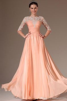 Modest 3/4 Sleeves Prom Dresses High Sheer Neck Orange Chiffon Corset A-line Appliques Floor Length Free Shipping Evening Party Gowns 2015