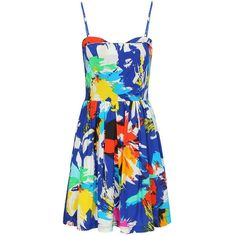 Yoins Mini Summer Dress ($21) ❤ liked on Polyvore featuring dresses, blue, sexy camisole, blue cocktail dress, blue camisole, sexy dresses and blue floral dress