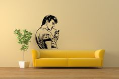 STYLOVÁ SAMOLEPKA MUŽ S CIGARETOU Stylus, Wall Stickers, Design, Home Decor, Wall Clings, Decoration Home, Style, Wall Decals, Room Decor
