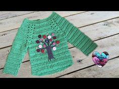 Pull arbre crochet facile toutes tailles 1/2 / Jersey todas las tallas crochet facil - YouTube