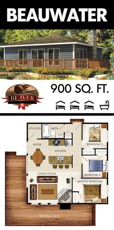 Id leave off bedroom Add master bath. And would be perfect for us. Beauwater is a comforting three bedroom complete with an airy kitchen and utility room. Cottage Floor Plans, Cottage Plan, Dream House Plans, Small House Plans, House Floor Plans, Beaver Homes And Cottages, Cabins And Cottages, Cottage Design, Tiny House Design