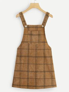 Shop Bib Pocket Front Grid Corduroy Overall Dress online. SHEIN offers Bib Pocket Front Grid Corduroy Overall Dress & more to fit your fashionable needs. Style Salopette, Corduroy Overall Dress, Diy Vetement, Mein Style, Plaid Fabric, Brown Fashion, Latest Dress, Fashion News, Fashion Styles