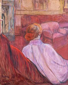 Woman Seated on a Red Settee, by Henri de Toulouse-Lautrec
