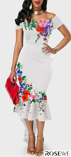 a5aaa872d9a3 Rosewe Women Dress White Floral Off The Shoulder Cocktail Party Off the  Shoulder Flower Print Ruffle Hem White Dress