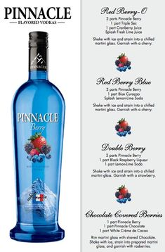 A premium vodka at an affordable price, Pinnacle® Vodka boasts more than 40 flavors -- perfect for making delicious vodka drinks. Raspberry Vodka Drinks, Vodka Mixed Drinks, Vodka Lemonade, Raspberry Recipes, Vodka Cocktails, Cocktail Drinks, Fun Drinks, Alcoholic Drinks, Flavored Vodka Drinks