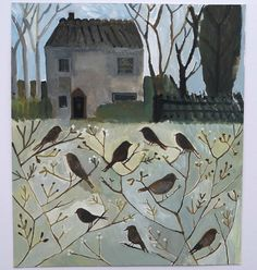 'Tiny Birds by Old Flint Cottage' by Cathy Cullis (gouache)