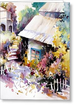 Cottage 2 Greeting Card by Rae Andrews
