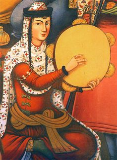 """farsizaban: """"A Persian woman playing the Daf, from a painting on the walls of Chehel-sotoon palace, Isfahan, Iran. Frame Drum, Ancient Persian, Iranian Art, Period Costumes, Islamic Art, Oeuvre D'art, History, Artist, Artwork"""