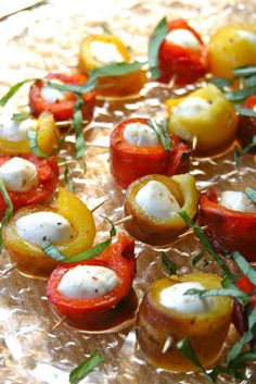 roasted pepper and fresh mozzarella bites ~ appetizer ~ beautiful on a plate ~ recipe