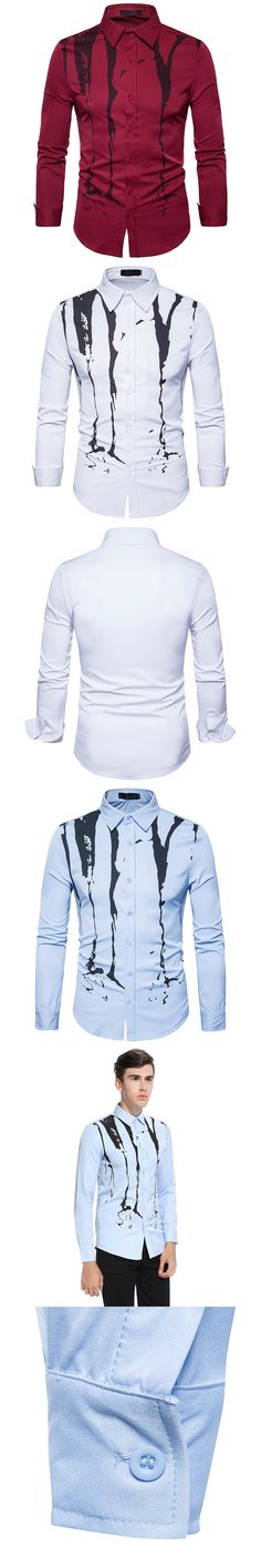 New Men's Print Long Sleeves Shirt Casual Top Luxury Formal Striped Slim Fit Dress Shirts Chinese Style Ink Painting Cotton
