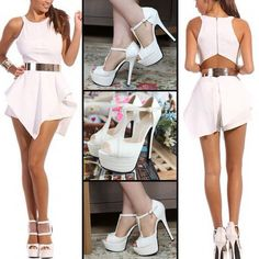 Sexy O Neck Tank Sleeveless Asymmetrical White Polyester A Line Mini Dress #999984 - I'm Addicted To You  Find More: http://www.imaddictedtoyou.com