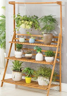 WOLTU Natural Bamboo Plant Stand Foldable Ladder Flower Rack Display Shelf for Home Patio Plant Ladder, Ladder Decor, Bamboo Plants, Flower Stands, Backyard, Patio, Display Shelves, Outdoor Gardens, Indoor