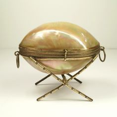 Antique French Mother of Pearl Egg Shape Casket Box On Stand 1870's