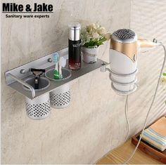 Bathroom Shelf/Hair Dryer Rack with 2 cup holders