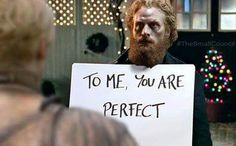 Tormund + Brienne (Game of Thrones / Love Actually)
