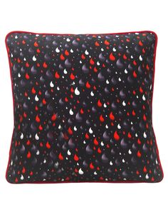 Rain Drops Cushion, navy, red and white, cotton canvas, made in Britain