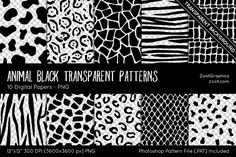 Animal Transparent Digital Papers Graphics Animal Black Transparent Patterns include 10 seamless (tileable) overlay animal patterns (cow, zebra by ZoollGraphics