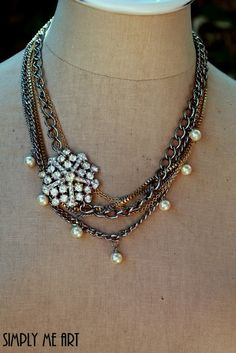 Vintage Rhinestone and Pearl Layered One of a Kind by simplymeart, $72.00