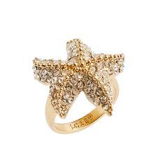 Crystal starfish ring