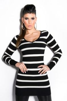 Black And White Striped Cut Out Back Knit Koucla Sweater R899.00