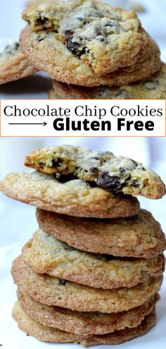 Moist and delicious gluten free chocolate chip cookies with LOTS of chocolate chips! You will never know these gluten free chocolate chip cookies are even gluten free! Easy | Best | Chewy #glutenfree #glutenfreecookies #glutenfreechocolatechipcookies Best Gluten Free Recipes, Gluten Free Sweets, Sugar Free Desserts, Gluten Free Baking, Gf Recipes, Baking Recipes, Chocolate Chip Cookies Ingredients, Gluten Free Chocolate Chip Cookies, Gluten Free Cookies