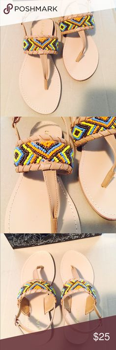 Multicolor and Tan Beaded Sandals Brand new. Never worn. With original box. Tan beige main color. Multicolor beaded design. Gold hardware. Super cute shoes! Liliana Shoes Sandals