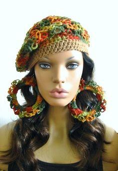 crochet hat and earrings