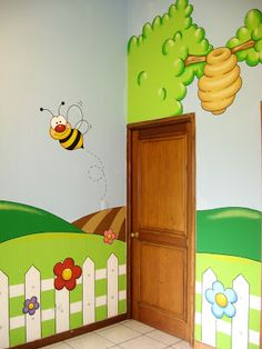 Murales en Colegios: Detalle de Pasillo Playroom Paint, Playroom Mural, Kids Room Murals, Wall Murals, Kids Church Rooms, Church Nursery, Class Decoration, School Decorations, Classroom Walls