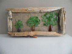 Driftwood art Sea glass art on burlap Sea by Seaglasspebbledesign