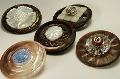 Ooooh! A vintage mother-of-pearl and glass button brooch for your jacket, winter coat or scarf??  Yes, Please!!!