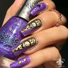 Purple & Gold Ornamental Mani #nails #nailart #nailstamping #bornprettystore