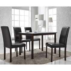With a modern look that keeps the essentials and gets rid of the superfluous, this dining set charms with its simple elegance. Featuring a rich dark brown finish and faux-leather seats, the set gives you ample room to add your own touches of color.