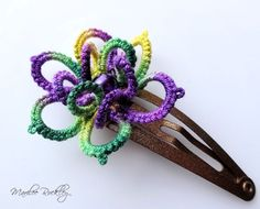 Hair clip Mardi Gras purple green gold tatted by yarnplayer