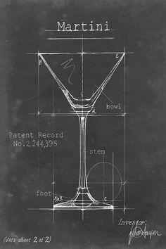 Barware Blueprint V Wall Art, Canvas Prints, Framed Prints, Wall Peels Blueprint Art, Blueprint Drawing, Cocktail Illustration, Patent Drawing, Technical Drawing, Patent Prints, Canvas Art Prints, Find Art, Pop Art