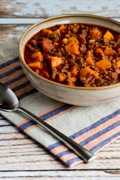 Paleo Turkey Sweet Potato Chili found on KalynsKitchen.com