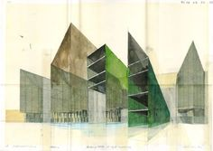 AVSM: For your consideration (Beniamino Servino) Architectural Section, Architectural Presentation, Painting Collage, Paintings, Architecture Drawings, Watercolor Sketch, Colorful Drawings, Love Art, Drawing Sketches