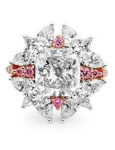 Linneys Argyle pink diamond ring in white and rose gold with white diamonds