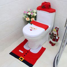 Valuable set including 1 toilet seat cover, 1 floor mat and 1 toilet. This lovely toilet seat cover set surely is must have christmas decor to. Elastic edge of the toilet seat cover and tank cover let you fit the cover. Christmas Bathroom Decor, Christmas Home, Christmas Ornaments, Winter Christmas, Wc Set, Toilet Decoration, Rustic Bathrooms, Wet Rooms, Christmas Settings