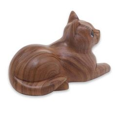 Wood sculpture, 'Short Haired Cat' - Hand Carved Wood Cat Sculpture from Balinese Artisan Wood Sculpture, Sculptures, Sculpture Projects, Wood Carving For Beginners, White Lotus Flower, Whittling Wood, Wood Cat, Cat Statue, Wooden Animals