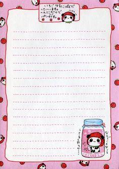 Ichigo Kopamuda 002 | Flickr - Photo Sharing! Stationary Printable, Cute Stationary, Printable Paper, Note Memo, Notes Template, Cute Notes, Kawaii Stationery, Letter Set, Writing Paper