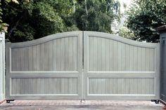 Custom wooden driveway gate. Wood Gates and Garage Doors http://www.pinterest.com/avivbeber3/wood-garage-doors-and-gates/