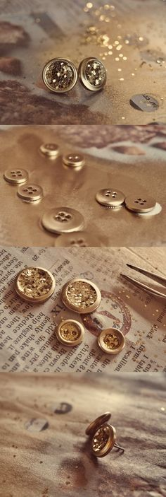 Cute idea! Just some buttons, glitter, earring posts and glue! http://www.bjcraftsupplies.com/