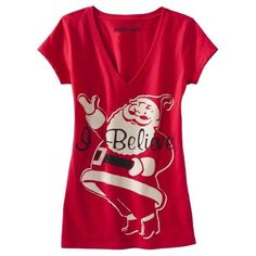 L.O.L. Vintage Junior's I Believe Santa Graphic Christmas Tee T Shirt Red NWT! #LOLVintage #GraphicTee