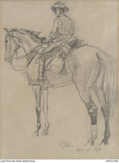Drawing of an unidentified Light Horse trooper mounted on his horse. The trooper wears a slouch hat with emu plume, grey flannel shirt, breeches, leather leggings and spurs. His horse wears a 3d Pencil Drawings, Art Drawings, Grey Flannel, Flannel Shirt, The Trooper, Anzac Day, Line Drawing, Pony, War Horses